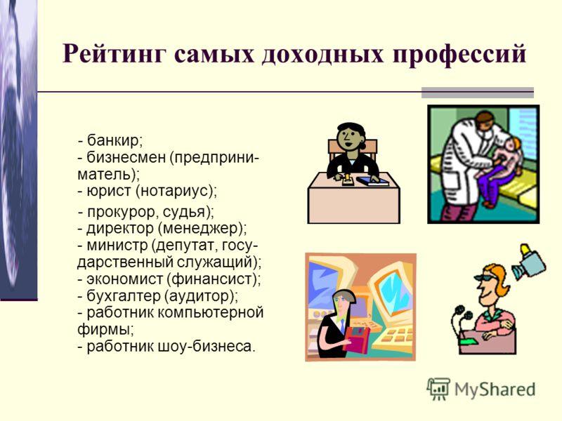 Рейтинг самых доходных профессий - банкир; - бизнесмен (предприни- матель); - юрист (нотариус); - прокурор, судья); - директор (менеджер); - министр (депутат, госу- дарственный служащий); - экономист (финансист); - бухгалтер (аудитор); - работник ком