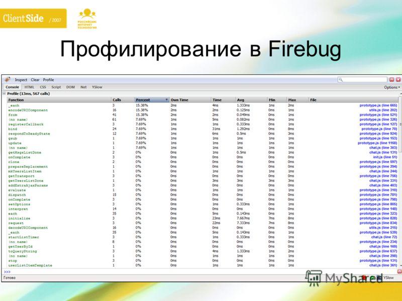 Профилирование в Firebug