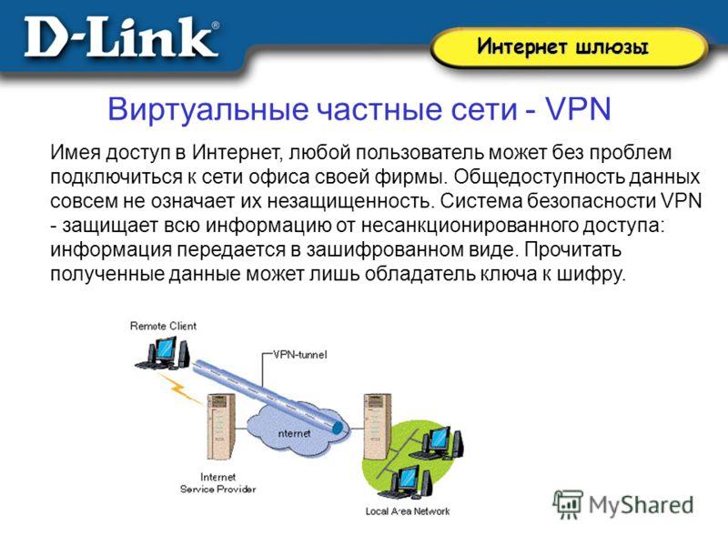 Виртуальные частные сети - VPN Имея доступ в Интернет, любой пользователь может без проблем подключиться к сети офиса своей фирмы. Общедоступность данных совсем не означает их незащищенность. Система безопасности VPN - защищает всю информацию от неса