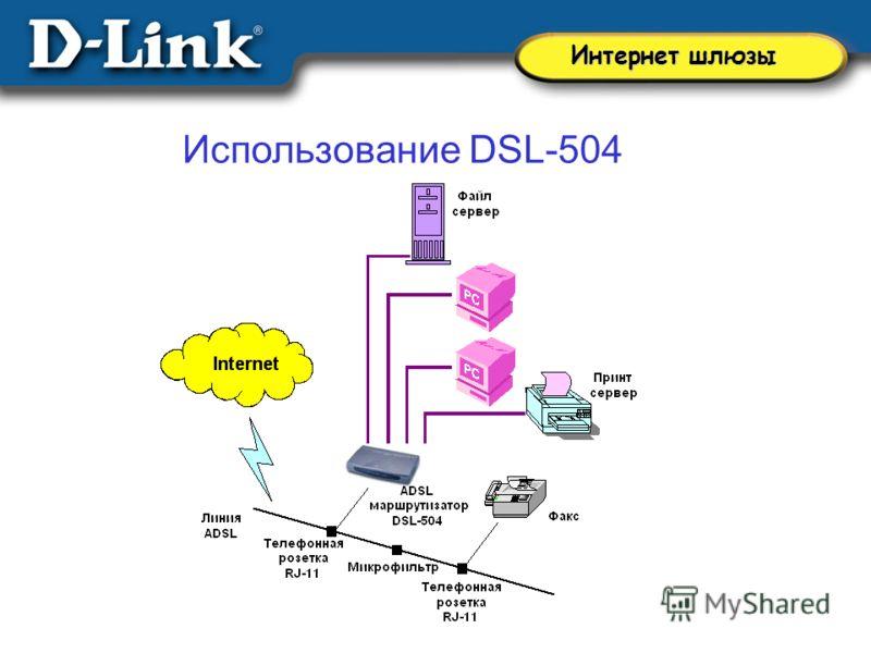 Использование DSL-504 Интернет шлюзы