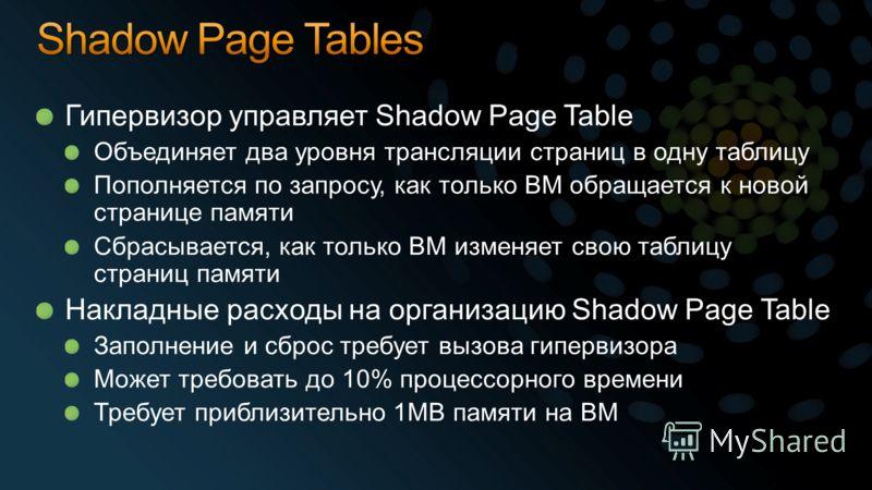 Гипервизор управляет Shadow Page Table Объединяет два уровня трансляции страниц в одну таблицу Пополняется по запросу, как только ВМ обращается к новой странице памяти Сбрасывается, как только ВМ изменяет свою таблицу страниц памяти Накладные расходы