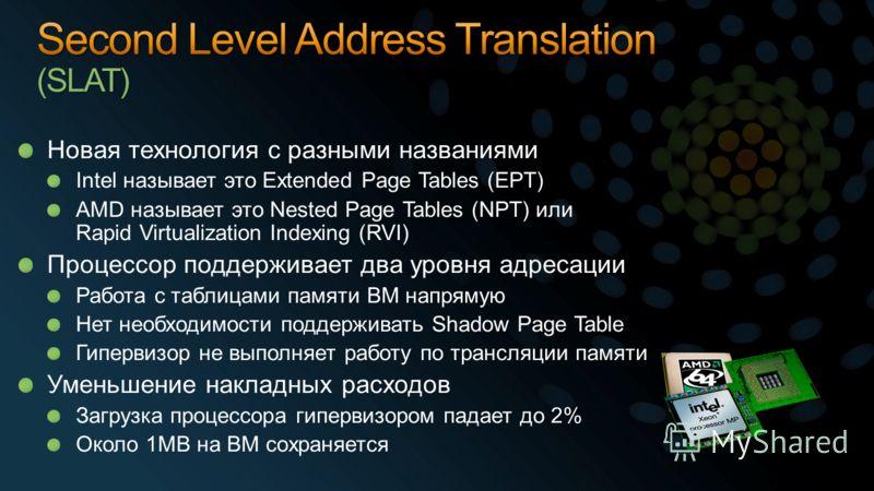 Новая технология с разными названиями Intel называет это Extended Page Tables (EPT) AMD называет это Nested Page Tables (NPT) или Rapid Virtualization Indexing (RVI) Процессор поддерживает два уровня адресации Работа с таблицами памяти ВМ напрямую Не