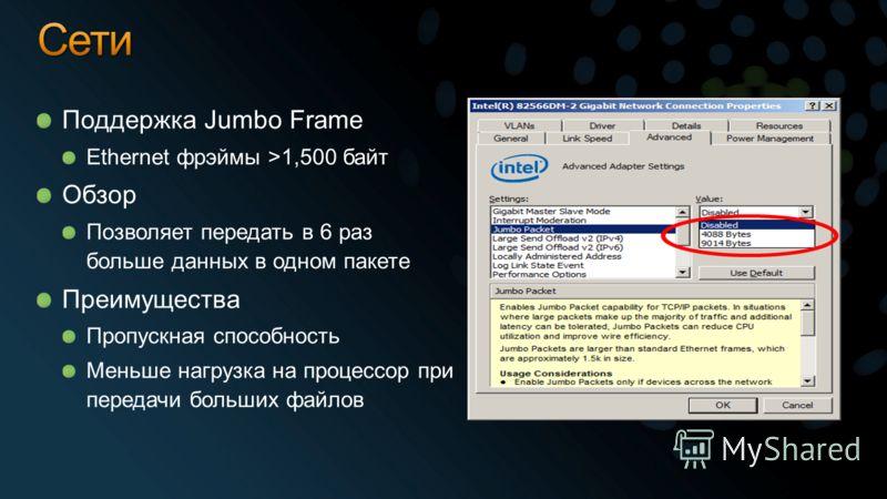 Поддержка Jumbo Frame Ethernet фрэймы >1,500 байт Обзор Позволяет передать в 6 раз больше данных в одном пакете Преимущества Пропускная способность Меньше нагрузка на процессор при передачи больших файлов