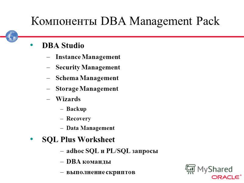 ® Компоненты DBA Management Pack DBA Studio –Instance Management –Security Management –Schema Management –Storage Management –Wizards –Backup –Recovery –Data Management SQL Plus Worksheet –adhoc SQL и PL/SQL запросы –DBA команды –выполнение скриптов