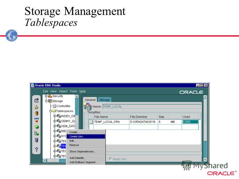 ® Storage Management Tablespaces