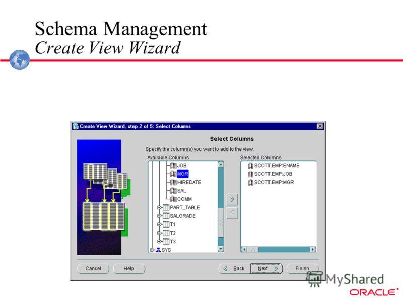 ® Schema Management Create View Wizard