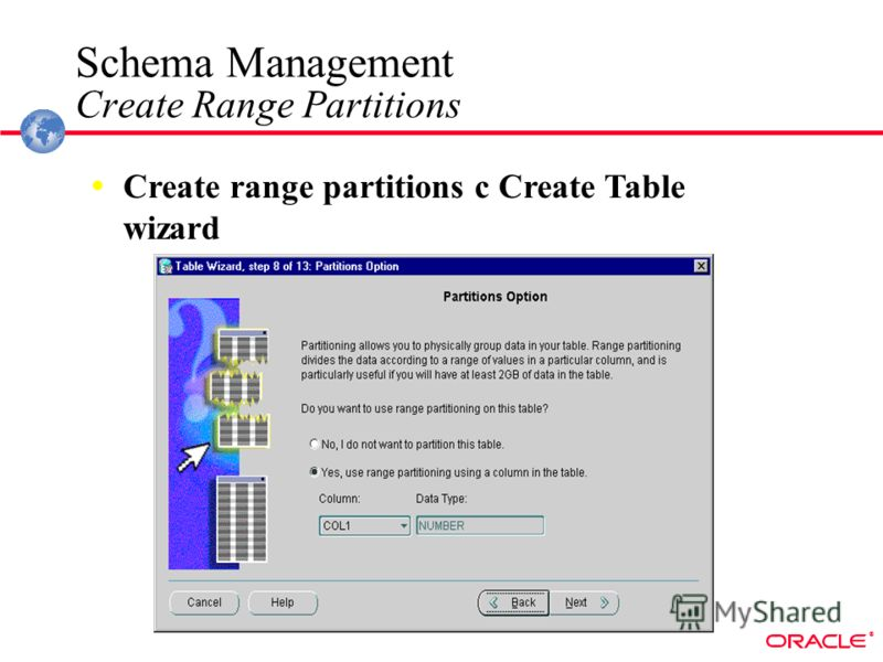 ® Create range partitions c Create Table wizard Schema Management Create Range Partitions