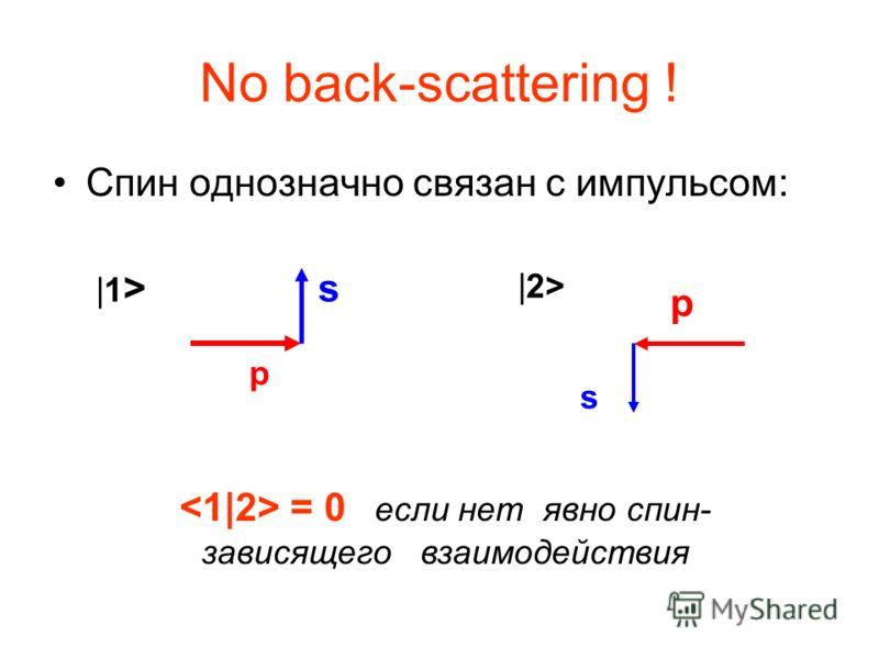 No back-scattering ! Спин однозначно связан с импульсом: p s |1>|1> |2> p s = 0 если нет явно спин- зависящего взаимодействия