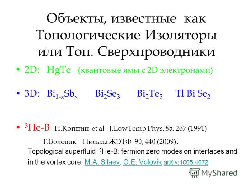 Объекты, известные как Топологические Изоляторы или Топ. Сверхпроводники 2D: HgTe (квантовые ямы с 2D электронами) 3D: Bi 1-x Sb x Bi 2 Se 3 Bi 2 Te 3 Tl Bi Se 2 3 He-B Н.Копнин et al J.LowTemp.Phys. 85, 267 (1991) Г.Воловик Письма ЖЭТФ 90, 440 (2009