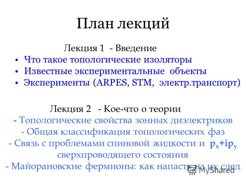 План лекций Лекция 1 - Введение Что такое топологические изоляторы Известные экспериментальные объекты Эксперименты (ARPES, STM, электр.транспорт) Лекция 2 - Кое-что о теории - Топологические свойства зонных диэлектриков - Общая классификация тополог