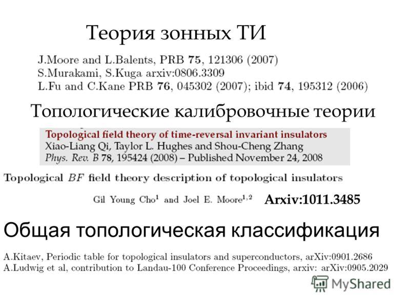 Теория зонных ТИ Общая топологическая классификация Топологические калибровочные теории Arxiv:1011.3485