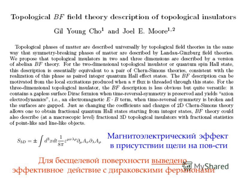 Магнитоэлектрический эффект в присутствии щели на пов-сти Для бесщелевой поверхности выведено эффективное действие с дираковскими фермионами