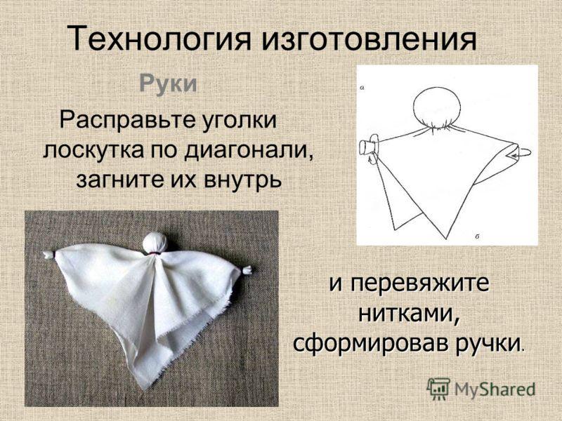 Руки Расправьте уголки лоскутка по диагонали, загните их внутрь и перевяжите нитками, сформировав ручки.