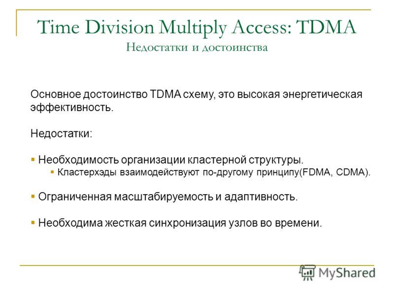 Time Division Multiply Access: TDMA TCCP Frame nFrame n+2Frame n+1 downlinkuplink Каждый фрейм делится на слоты. Нет прямого взаимодействия между узлами Базовая станция рассылает расписание Необходима жесткая синхронизация