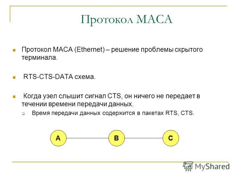 Проблема скрытого и обнаруженного терминалов Радио эфир является общим ресурсом Классический CSMA работает неэффективно из-за проблем «скрытого» и «обнаруженного» терминала. CB AD CB AD «Скрытый» терминал «Обнаруженный» терминал