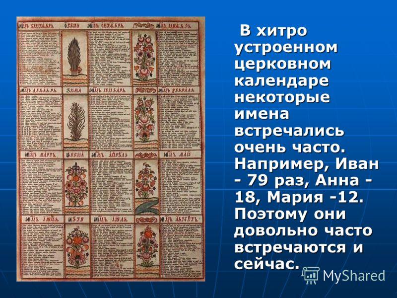 В хитро устроенном церковном календаре некоторые имена встречались очень часто. Например, Иван - 79 раз, Анна - 18, Мария -12. Поэтому они довольно часто встречаются и сейчас. В хитро устроенном церковном календаре некоторые имена встречались очень ч
