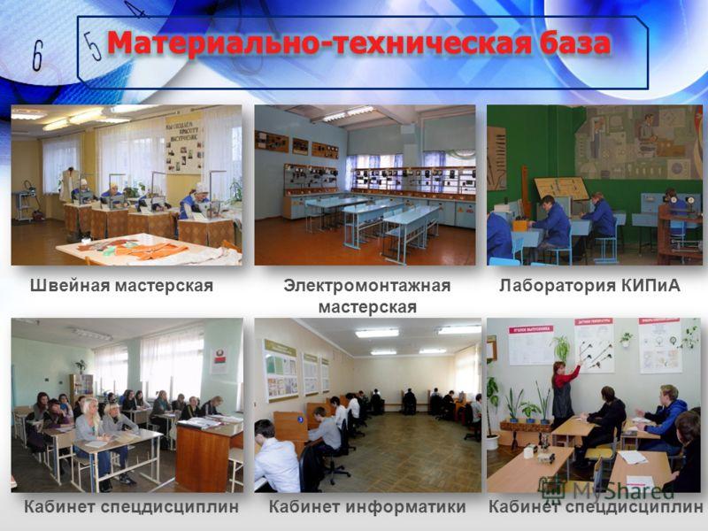 Швейная мастерскаяЭлектромонтажная мастерская Лаборатория КИПиА Кабинет информатикиКабинет спецдисциплин