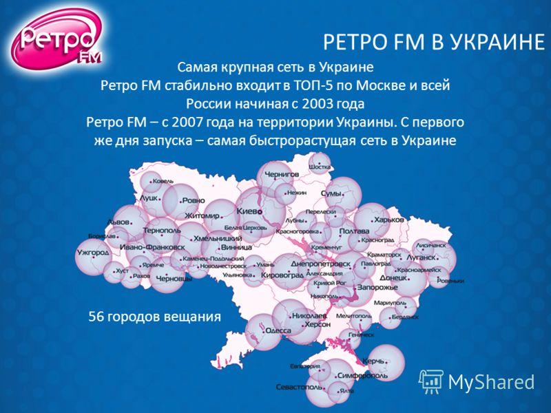 РЕТРО FM В УКРАИНЕ Самая крупная сеть в Украине Ретро FM стабильно входит в ТОП-5 по Москве и всей России начиная с 2003 года Ретро FM – с 2007 года на территории Украины. С первого же дня запуска – самая быстрорастущая сеть в Украине 56 городов веща