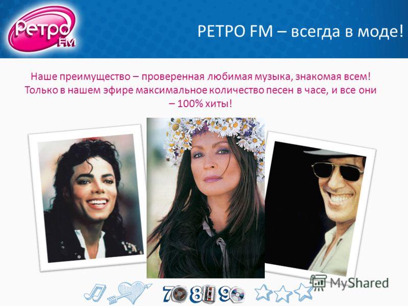 РЕТРО FM – всегда в моде! Наше преимущество – проверенная любимая музыка, знакомая всем! Только в нашем эфире максимальное количество песен в часе, и все они – 100% хиты!