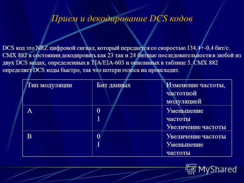 Прием и декодирование DCS кодов DCS код это NRZ цифровой сигнал, который передается со скоростью 134,4+-0,4 бит/с. CMX 882 в состоянии декодировать как 23 так и 24 битные последовательности в любой из двух DCS модах, определенных в TIA/EIA-603 и опис