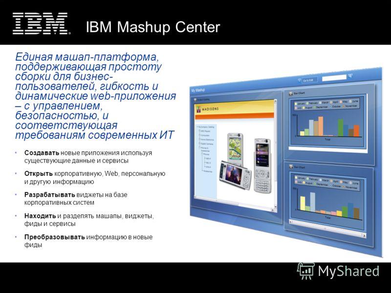 IBM Mashup Center Создавать новые приложения используя существующие данные и сервисы Открыть корпоративную, Web, персональную и другую информацию Разрабатывать виджеты на базе корпоративных систем Находить и разделять машапы, виджеты, фиды и сервисы