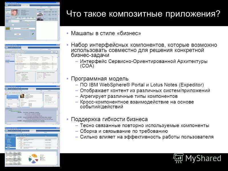 Что такое композитные приложения? Машапы в стиле «бизнес» Набор интерфейсных компонентов, которые возможно использовать совместно для решения конкретной бизнес-задачи –Интерфейс Сервисно-Ориентированной Архитектуры (СОА) Программная модель –ПО IBM We