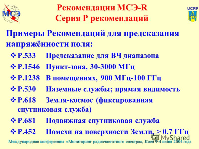 Международная конференция «Мониторинг радиочастотного спектра», Киев 1-4 июня 2004 года UCRF МСЭ Рекомендации МСЭ-R Серия Р рекомендаций Примеры Рекомендаций для предсказания напряжённости поля: P.533Предсказание для ВЧ диапазона P.1546Пункт-зона, 30