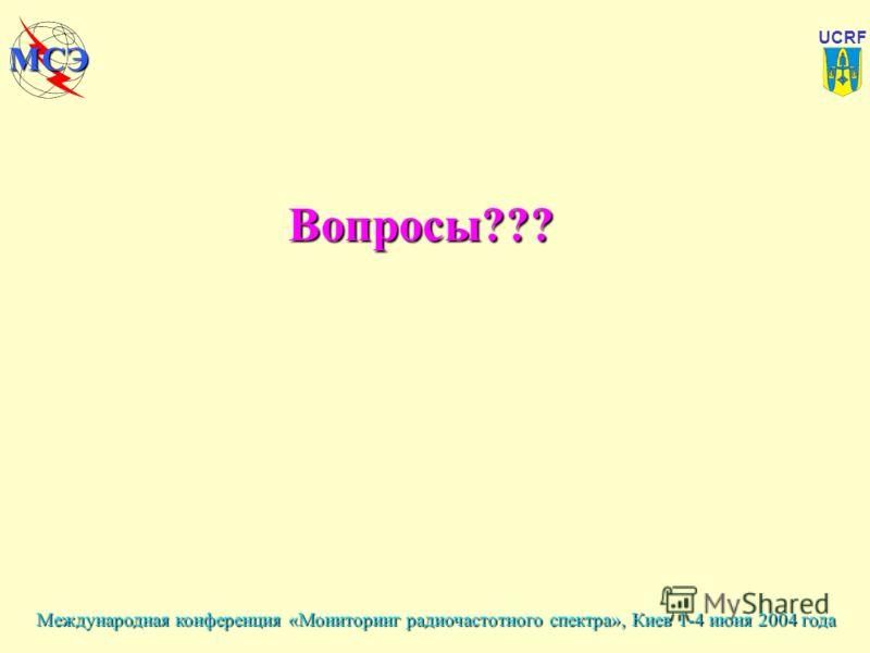 Международная конференция «Мониторинг радиочастотного спектра», Киев 1-4 июня 2004 года UCRF МСЭ Вопросы???