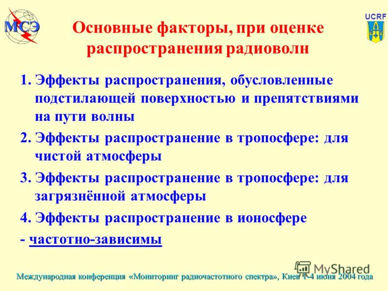 Международная конференция «Мониторинг радиочастотного спектра», Киев 1-4 июня 2004 года UCRF МСЭ Основные факторы, при оценке распространения радиоволн 1. Эффекты распространения, обусловленные подстилающей поверхностью и препятствиями на пути волны