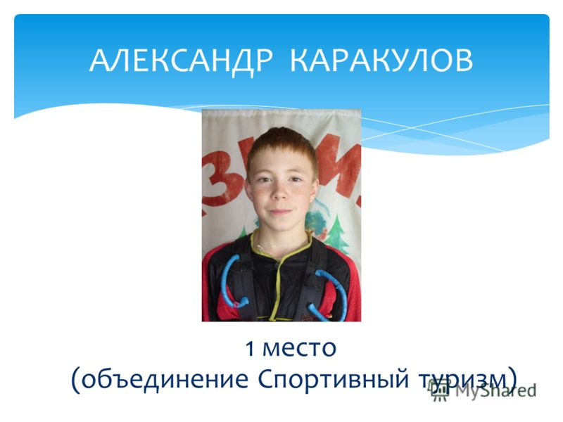 АЛЕКСАНДР КАРАКУЛОВ 1 место (объединение Спортивный туризм)