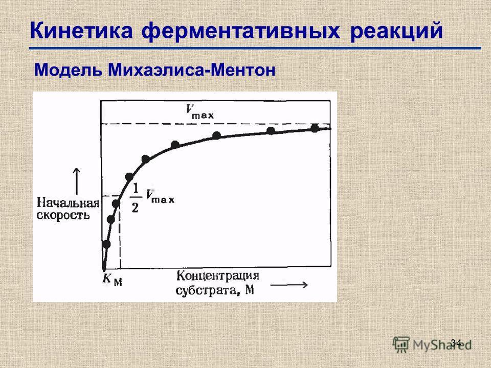34 Кинетика ферментативных реакций Модель Михаэлиса-Ментон