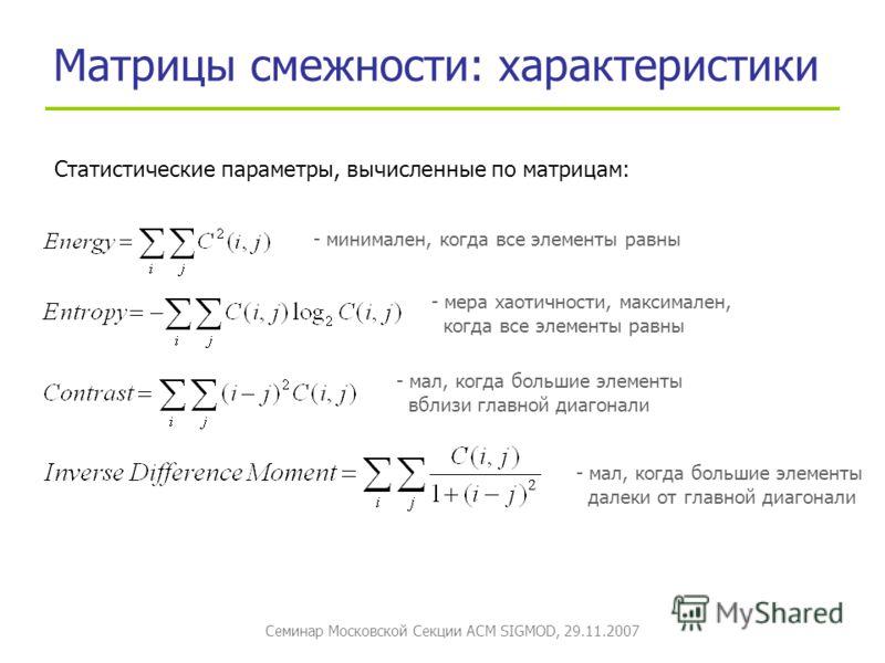 Семинар Московской Секции ACM SIGMOD, 29.11.2007 Матрицы смежности: характеристики Статистические параметры, вычисленные по матрицам: - минимален, когда все элементы равны - мера хаотичности, максимален, когда все элементы равны - мал, когда большие