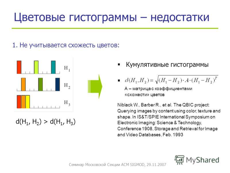 Семинар Московской Секции ACM SIGMOD, 29.11.2007 Цветовые гистограммы – недостатки 1. Не учитывается схожесть цветов: d(H 1, H 2 ) > d(H 1, H 3 ) Кумулятивные гистограммы Niblack W., Barber R., et al. The QBIC project: Querying images by content usin