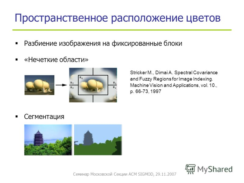 Семинар Московской Секции ACM SIGMOD, 29.11.2007 Пространственное расположение цветов Stricker M., Dimai A. Spectral Covariance and Fuzzy Regions for Image Indexing. Machine Vision and Applications, vol. 10., p. 66-73, 1997 Разбиение изображения на ф