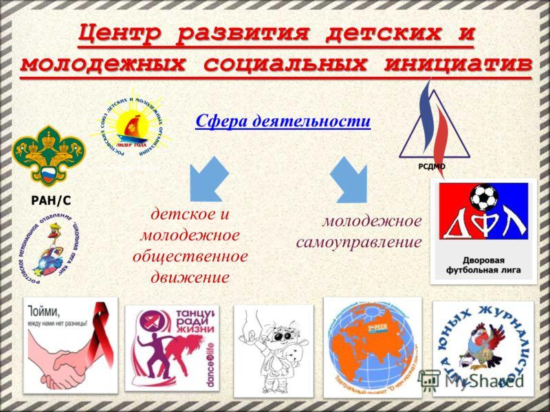 Центр развития детских и молодежных социальных инициатив Сфера деятельности детское и молодежное общественное движение молодежное самоуправление
