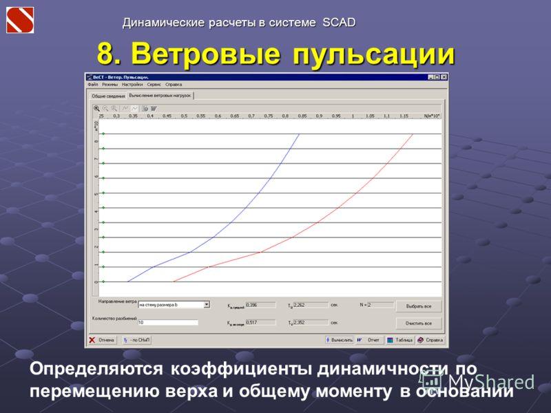 8. Ветровые пульсации Динамические расчеты в системе SCAD Определяются коэффициенты динамичности по перемещению верха и общему моменту в основании