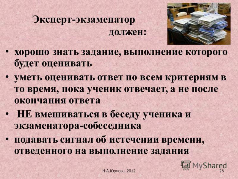 Н.А.Юрлова, 201226 хорошо знать задание, выполнение которого будет оценивать уметь оценивать ответ по всем критериям в то время, пока ученик отвечает, а не после окончания ответа НЕ вмешиваться в беседу ученика и экзаменатора-собеседника подавать сиг