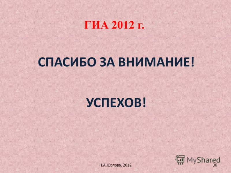 Н.А.Юрлова, 201238 ГИА 2012 г. СПАСИБО ЗА ВНИМАНИЕ! УСПЕХОВ!