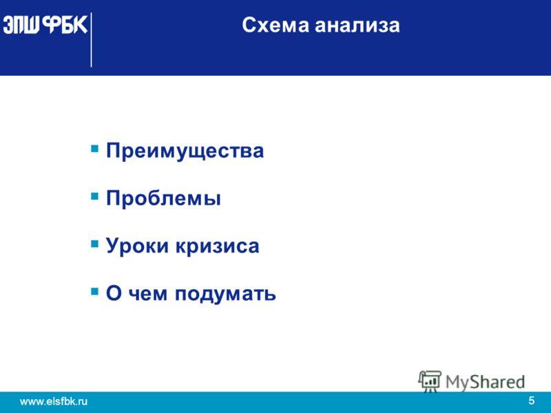 5 www.elsfbk.ru Схема анализа Преимущества Проблемы Уроки кризиса О чем подумать