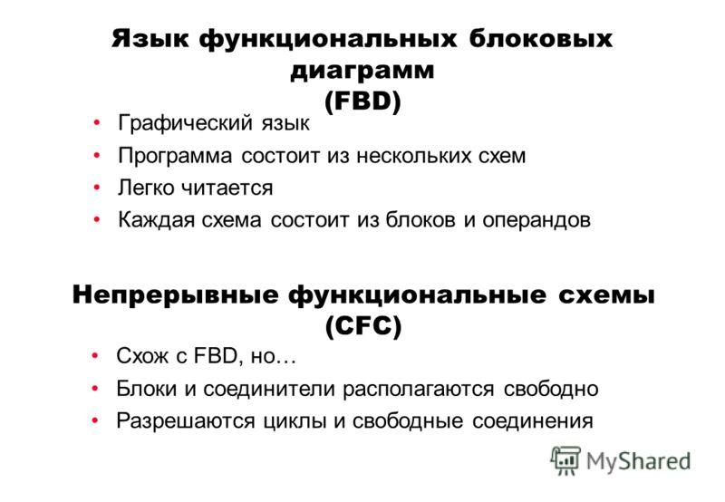 Язык функциональных блоковых диаграмм (FBD) Графический язык Программа состоит из нескольких схем Легко читается Каждая схема состоит из блоков и операндов Непрерывные функциональные схемы (CFC) Схож с FBD, но… Блоки и соединители располагаются свобо