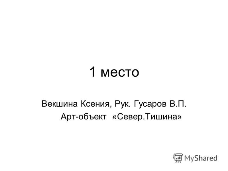 1 место Векшина Ксения, Рук. Гусаров В.П. Арт-объект «Север.Тишина»