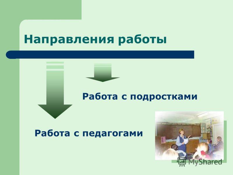 Направления работы Работа с подростками Работа с педагогами