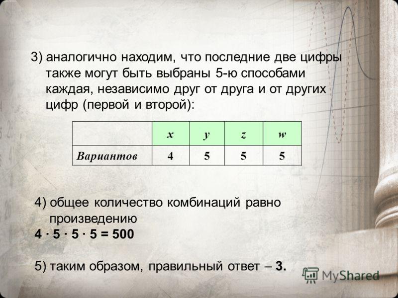 3) аналогично находим, что последние две цифры также могут быть выбраны 5-ю способами каждая, независимо друг от друга и от других цифр (первой и второй): xyzw Вариантов4555 4) общее количество комбинаций равно произведению 4 · 5 · 5 · 5 = 500 3. 5)