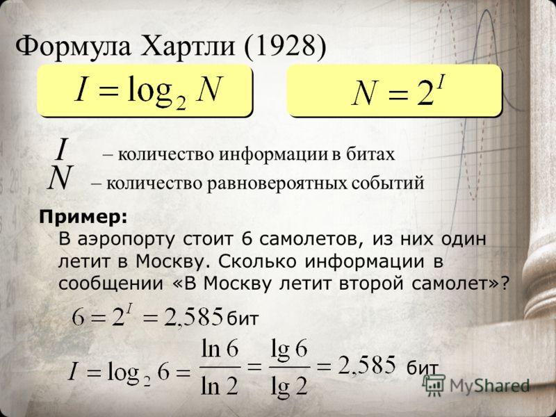 I – количество информации в битах N – количество равновероятных событий бит Формула Хартли (1928) Пример: В аэропорту стоит 6 самолетов, из них один летит в Москву. Сколько информации в сообщении «В Москву летит второй самолет»? бит