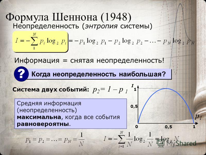 Формула Шеннона (1948) Неопределенность (энтропия системы) Система двух событий: 01 0,5 1 I Средняя информация (неопределенность) максимальна, когда все события равновероятны. p1p1 p 2 = 1 – p 1 Когда неопределенность наибольшая? ? Информация = снята