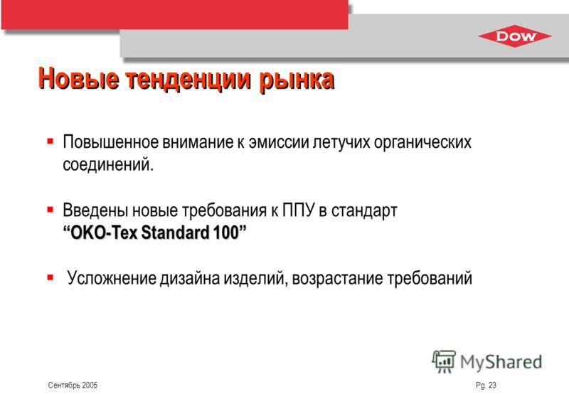 Сентябрь 2005 Pg. 23 Повышенное внимание к эмиссии летучих органических соединений. OKO-Tex Standard 100 Введены новые требования к ППУ в стандарт OKO-Tex Standard 100 Усложнение дизайна изделий, возрастание требований Новые тенденции рынка