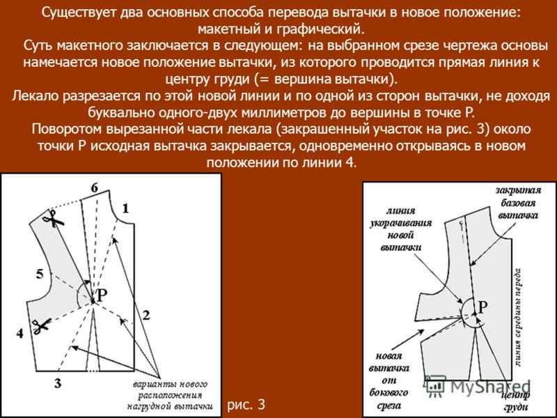 Существует два основных способа перевода вытачки в новое положение: макетный и графический. Суть макетного заключается в следующем: на выбранном срезе чертежа основы намечается новое положение вытачки, из которого проводится прямая линия к центру гру
