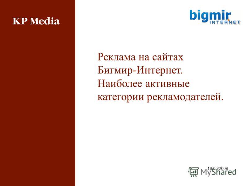 16/05/2008 Реклама на сайтах Бигмир-Интернет. Наиболее активные категории рекламодателей.
