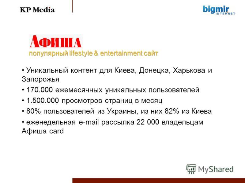 Уникальный контент для Киева, Донецка, Харькова и Запорожья 170.000 ежемесячных уникальных пользователей 1.500.000 просмотров страниц в месяц 80% пользователей из Украины, из них 82% из Киева еженедельная e-mail рассылка 22 000 владельцам Афиша card