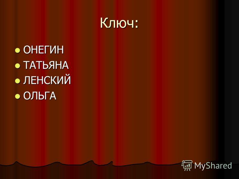 Ключ: ОНЕГИН ОНЕГИН ТАТЬЯНА ТАТЬЯНА ЛЕНСКИЙ ЛЕНСКИЙ ОЛЬГА ОЛЬГА
